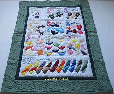 Hawaiian STYLE NUMBERS quilt baby crib blanket hand quilted wall hanging green