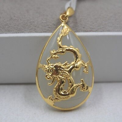 Real 24K Yellow Gold & Hetian Jade Pendant Flying Dragon For Women Man Chinese