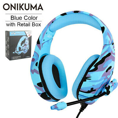 3.5mm Surround Stereo Headphone Gaming Headset for PS4 Xbox One PC Slim Mic Blue