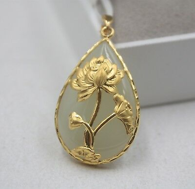 Real 24K Yellow Gold & Hetian Jade Pendant Flower Gift Chinese For Women Man