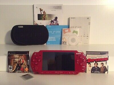 Sony PSP Red God Of War Edition / Video Game + Movie / Case / Charger / SD Card