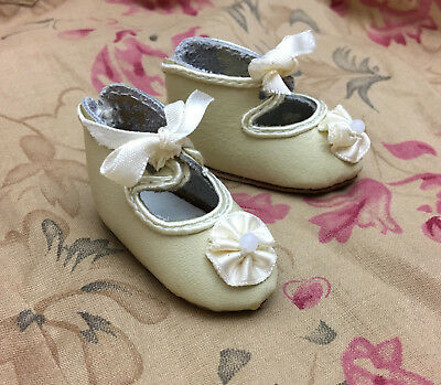 """Black French Antique Style Doll Shoes Satin Fleurette Pointed toes  2-7//8/""""L fit"""