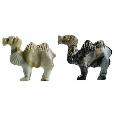 3 pcs Hand Carved Camel Collectable Soapstone Figurines from Peru - Style 1