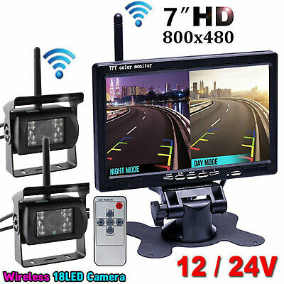 "2x Wireless IR Night Vision Rear Backup CCD Camera + 7"" Monitor For Truck Van RV"