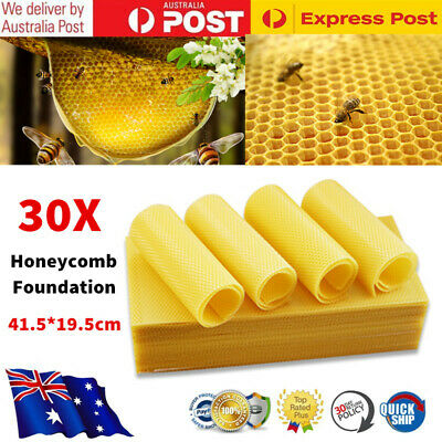 30x Beekeeping Honeycomb Foundation Beehive Wax Frame Honey Equipment Supplies
