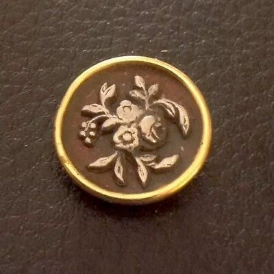 """Vintage 5/8"""" Realistic Novelty Brass Metal Flowers Button"""