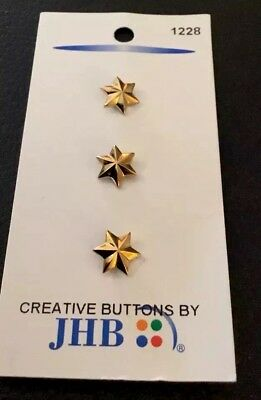 """⭐️ 3 Vintage 3/8"""" Realistic Novelty Figural Plastic Gold Tone Star Buttons ⭐️"""