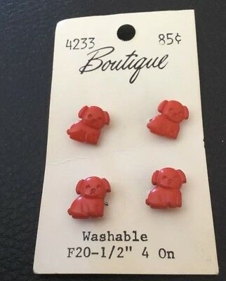"4 Vintage 1/2"" Realistic Novelty Figural Plastic Puppy Dog Animal Buttons"