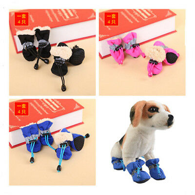 4pcs Winter Pet Dog Cat Shoes Boots Waterproof Warm Non-Slip Puppy Paw Protector
