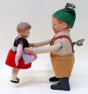 1930's BAVARIAN DANCING COUPLE windup Schuco Germany WORKING w/key