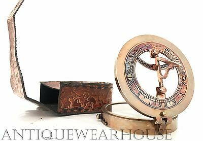 Vintage Brass Working Handmade Compass With Case Nautical Antique Desk Compass