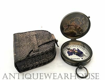Antique Brass Marine Pocket Compass Handmade Penny Beautiful Maritime Compass