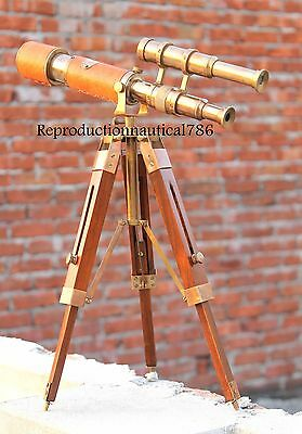 Double barrel spy glass telescope nautical balcony handmade antique telescope
