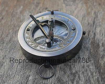 Solid Brass Antique Working Compass Handmade Flat Designer Navigation Compass