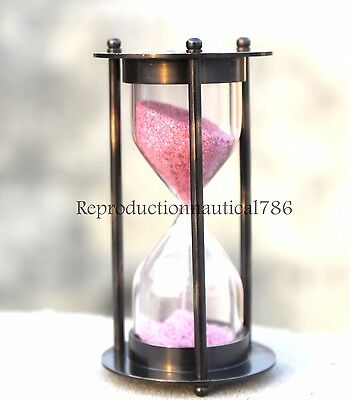 Antique Solid Brass Maritime Sand Timer Collectible Desk Timer Hour Glass Decor
