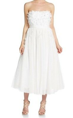 NWT Adrianna Papell White Ivory Womens 8 Tulle Petal Ball-Gown Wedding Dress