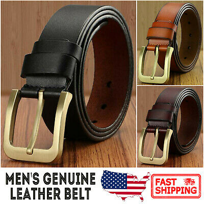 Men's Genuine Leather Vintage Gold Color Metal Buckle Needlepoint Jean Belt