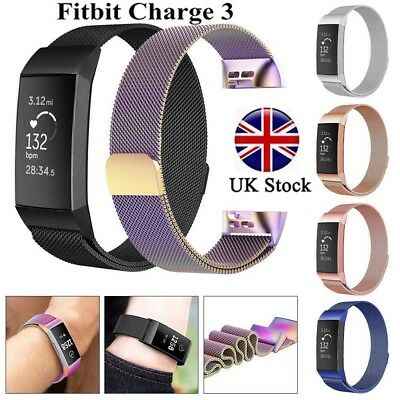 Straps For FitBit Charge 3 Wristband Replacement Milanese Metal Wrist Bands UK