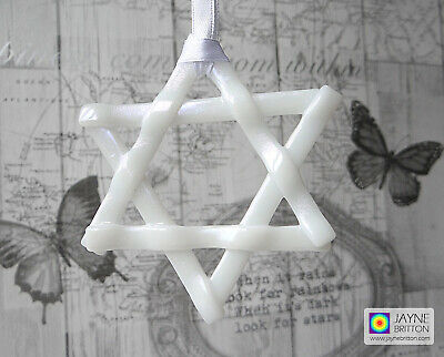White glittering star light catcher, iridescent fused glass, six pointed star