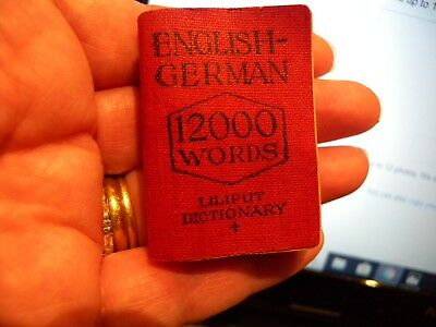 Antique 1915 Orig Liliput Miniature English-German Dictionary  Very Rare