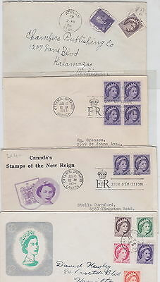 QE !950's Wilding, 6 FDC's, 5 other Covers, Lot 5826