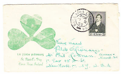 Ireland March 17 1953 Cover to USA, Scott 146, Lot 5112