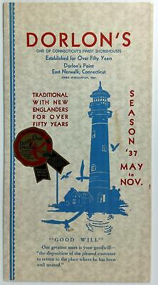 1937 Menu DORLON'S Shorehouse Restaurant Norwalk Connecticut