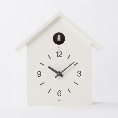 MUJI Mechanical Cuckoo Wall or Put Clock White with Light Sensor EMS