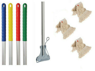 Kentucky Metal Mop Handle With Metal Clip and 3 Mop heads Handle Colour Options