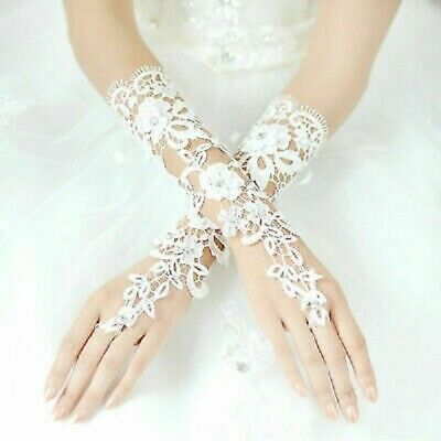New Fingerless Sequin and Beaded Lace Wedding Gloves in White Ivory