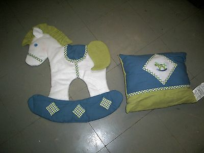 Pillow & Wall Hanging, Rock Horse Theme, Blue, Green & White, New