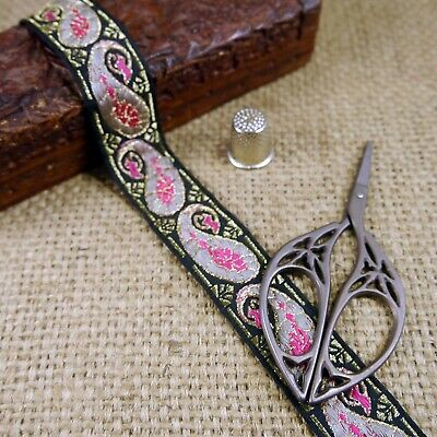 Geometric Tribal Black Silver Asian Indian Ethnic Jacquard Ribbon Trim MA104