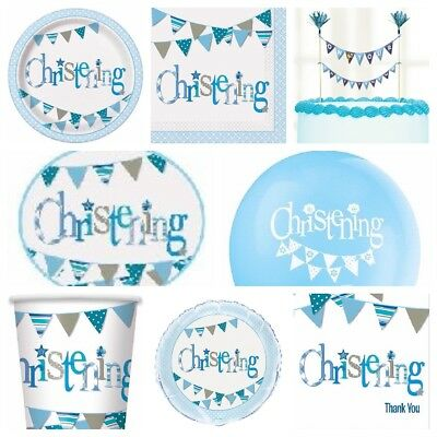 Blue Boy Cute Bunting Christening Party Tableware Supplies Decorations * SALE *