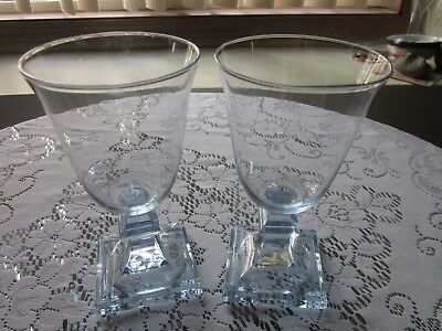 2 Vintage Ice Blue Crystal Wine Water Goblets Excellent!!!!!