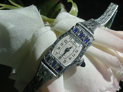 1929 Ladies Art Deco Sapphire Bulova Watch ~ Filigree Band ~ Runs