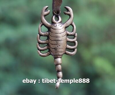 8 CM Tibet Buddhism incantation Pure Bronze scorpion Amulet Pendant Necklace