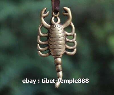8 CM Tibetan Buddhism incantation Pure Bronze scorpion Amulet Pendant Necklace