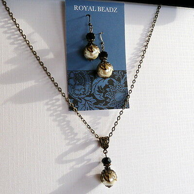 Victorian Art Deco Style Bronze Cream Pearl Black Crystal Necklace Earrings Set