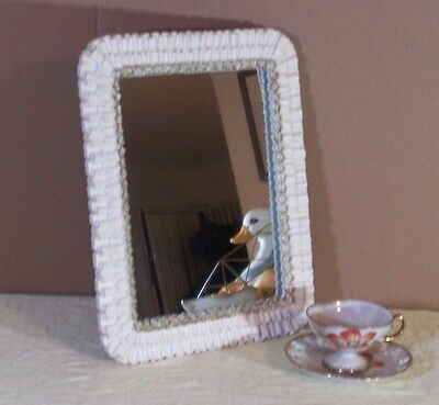 Hollywood Regency Style Mid Century Syroco Wall Dresser Table Mirror White Gold
