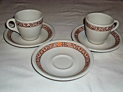 Expresso or Child's Tea Cups/Saucers Sterling China Restaurant Ware Set of 5