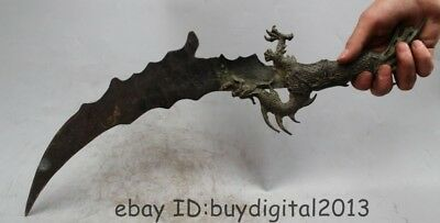 """21""""Marked Chinese China Dynasty Palace Feng Shui Bronze scorpion Sword Statue"""