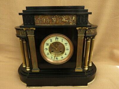 Very Large Antique Vincenti Black Slate 8 Day Mantel Clock