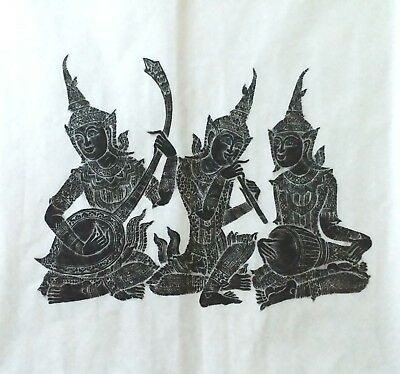 Thai Temple Wat Pho Stone Rubbing Art Thick Rice Paper East Wall Siam Vintage