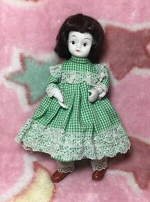 Sweet Little Vintage Porcelain Bisque Doll 23cm Green White Dress Green Wire