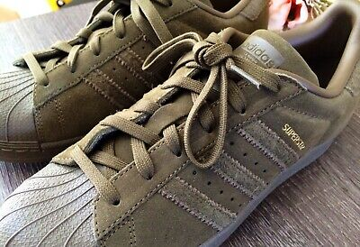 baf6dd533dff17 New ADIDAS Superstar Shoes Sneakers Suede Olive Green Shell Toe Mens 6  Women 7.5