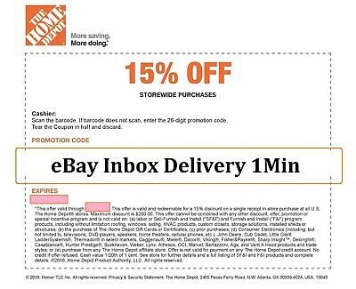 1x ONE-Home Depot 15% OFF Coupon Save up to $200-Instore ONLY  FAST-SEND-1min--