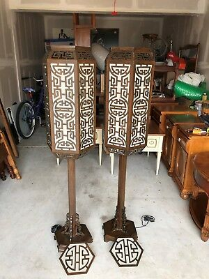 Amazing Vintage Chinese Modern Style Floor Standing Wooden Lamps L@@K