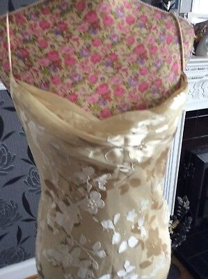 "Monsoon Gold Beaded Dress Long Length 57"" Size 12 Ec Hols 8.5-18.6"