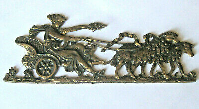 "Antique Vintage Pair Brass Furniture Ormolu Mounts Mythological Scene 6.5""-7"""