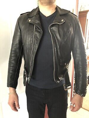 6694ed9816ab1 SCHOTT NYC 613 One Star Perfecto Black Leather Motorcycle Jacket ...